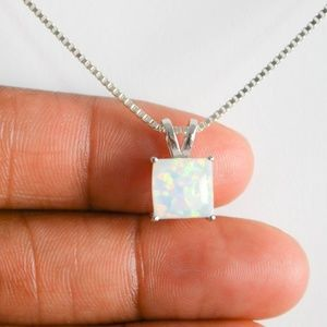 White Fire Opal Necklace, Sterling Silver